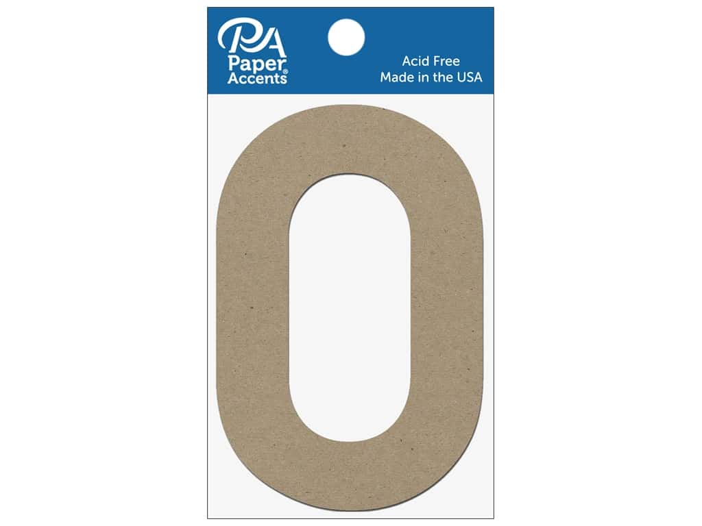 """Paper Accents Chipboard Shape Numbers """"0"""" 4 in. 2 pc. Natural"""