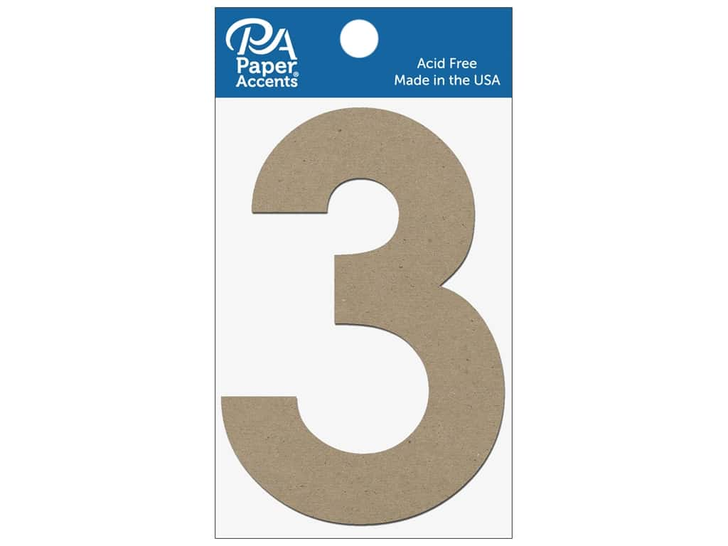 """Paper Accents Chipboard Shape Numbers """"3"""" 4 in. 2 pc. Natural"""