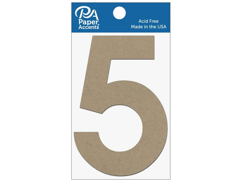 """Paper Accents Chipboard Shape Numbers """"5"""" 4 in. 2 pc Natural"""