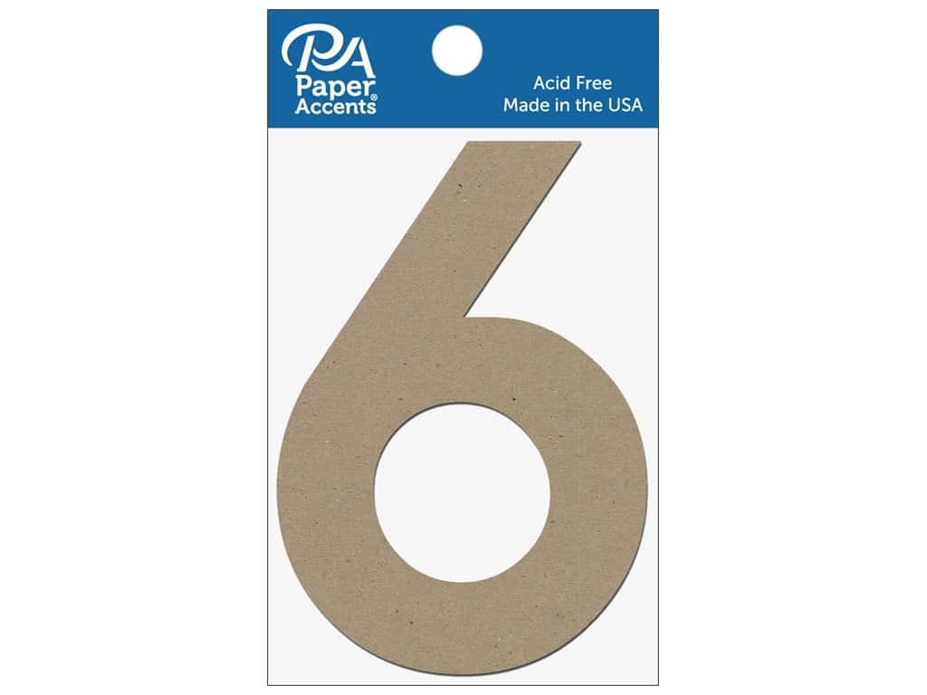 "Paper Accents Chipboard Shape Numbers ""6"" 4 in. 2 pc. Natural"