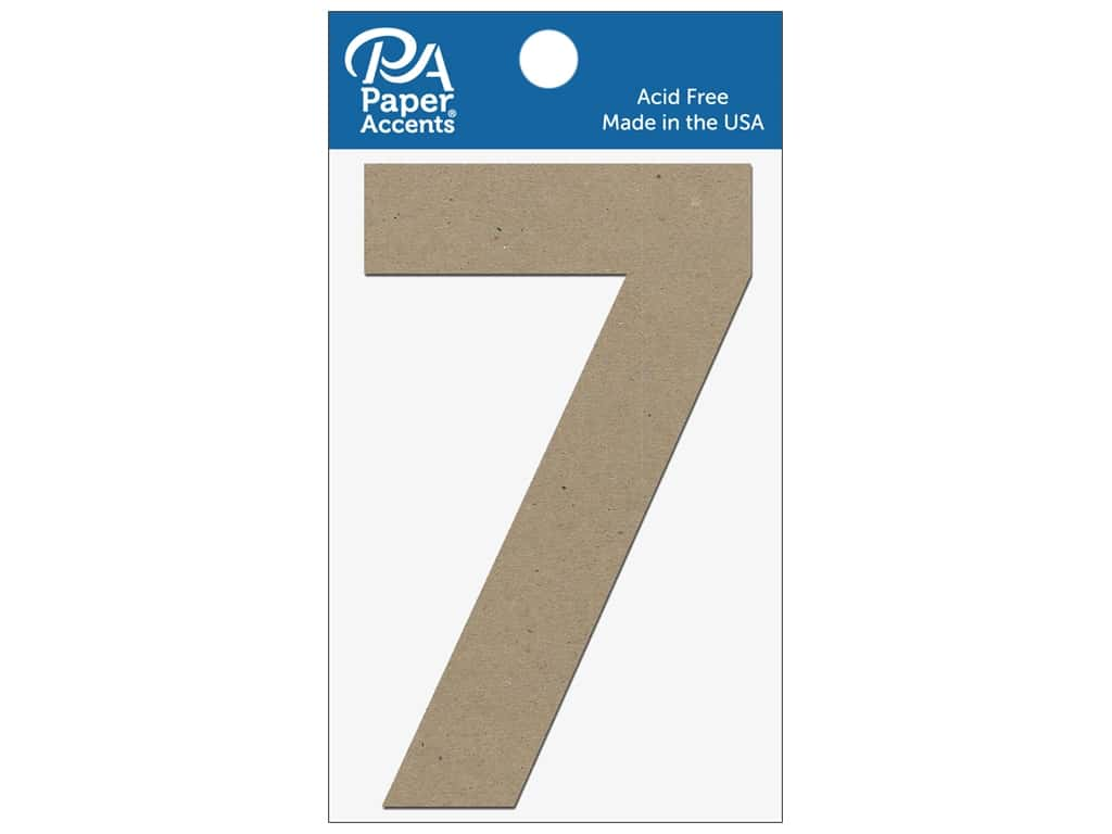 "Paper Accents Chipboard Shape Numbers ""7"" 4 in. 2 pc Natural"