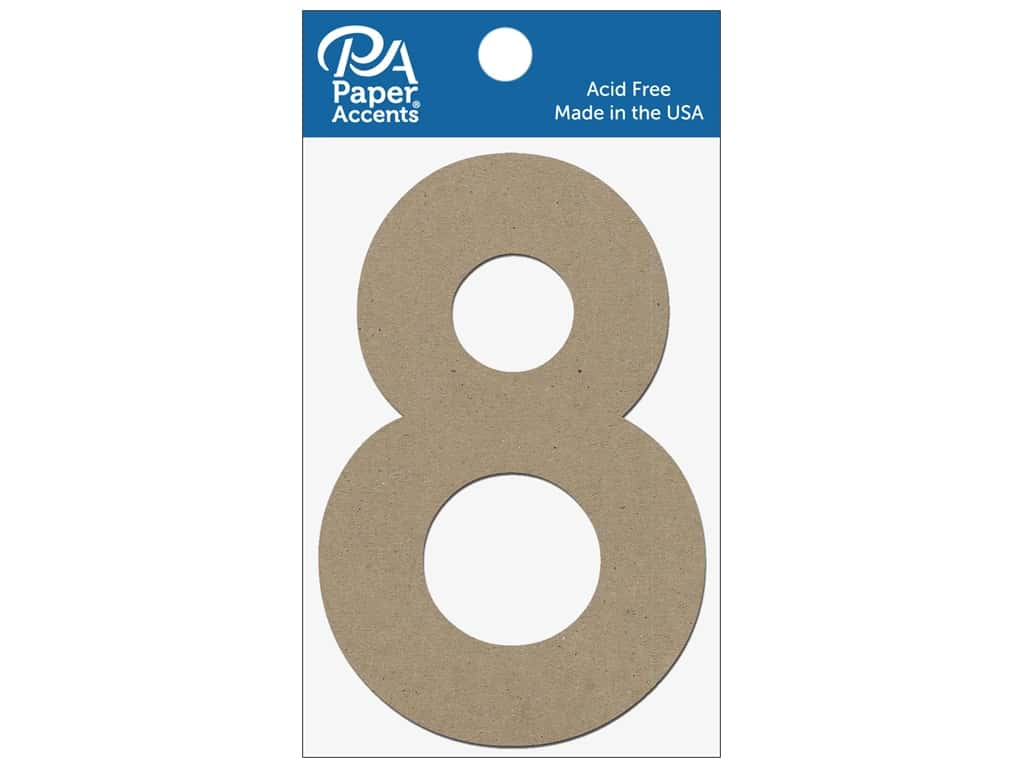 "Paper Accents Chipboard Shape Numbers ""8"" 4 in. 2 pc. Natural"