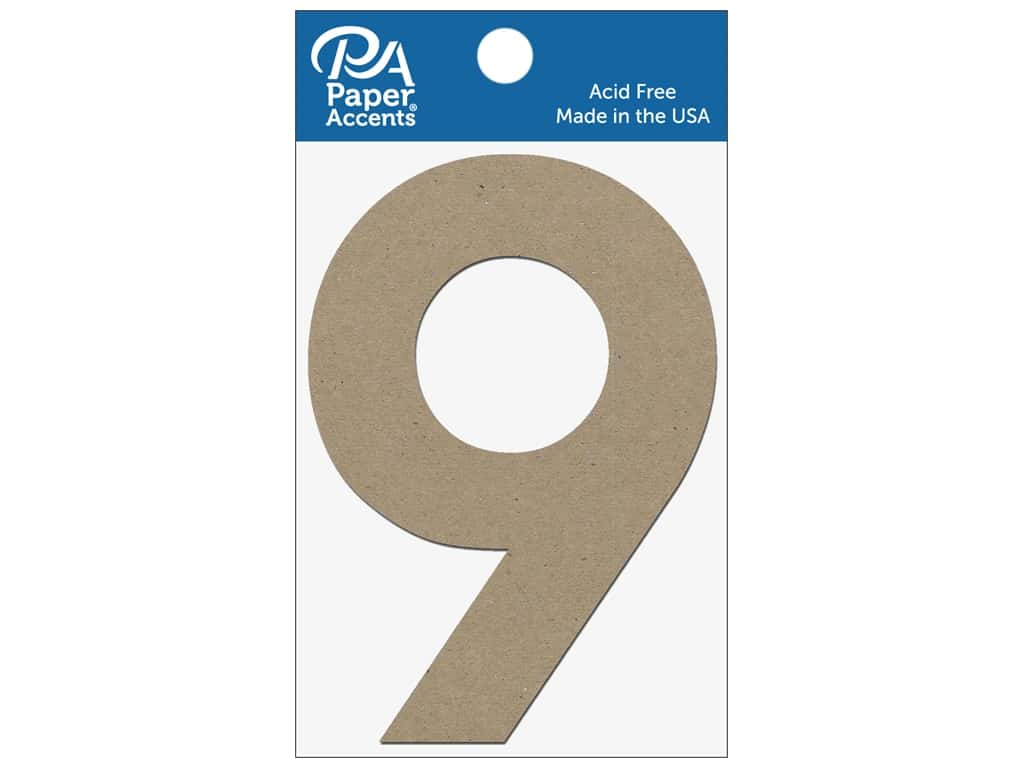 "Paper Accents Chipboard Shape Numbers ""9"" 4 in. 2 pc Natural"