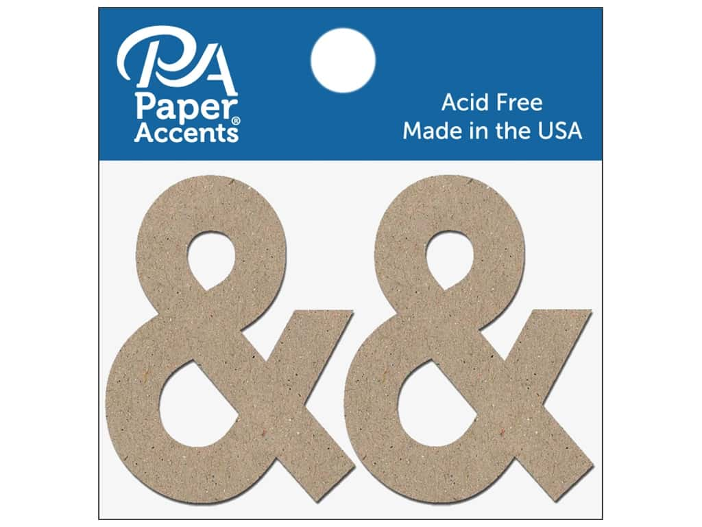 """Paper Accents Chipboard Shape Punctuation """"&"""" 2 in. 2 pc. Natural"""
