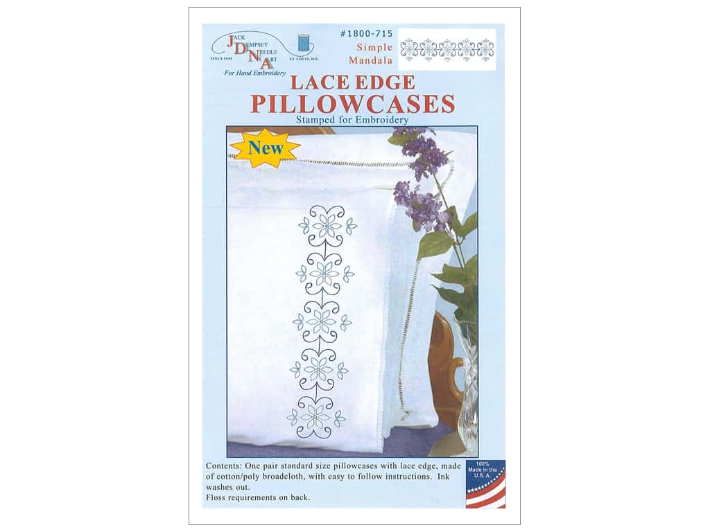 Jack Dempsey Pillowcase Lace Edge White Simple Mandala