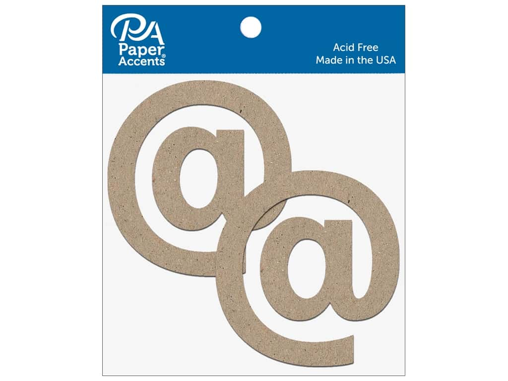"""Paper Accents Chipboard Shape Punctuation """"@"""" 4 in. 2 pc. Natural"""