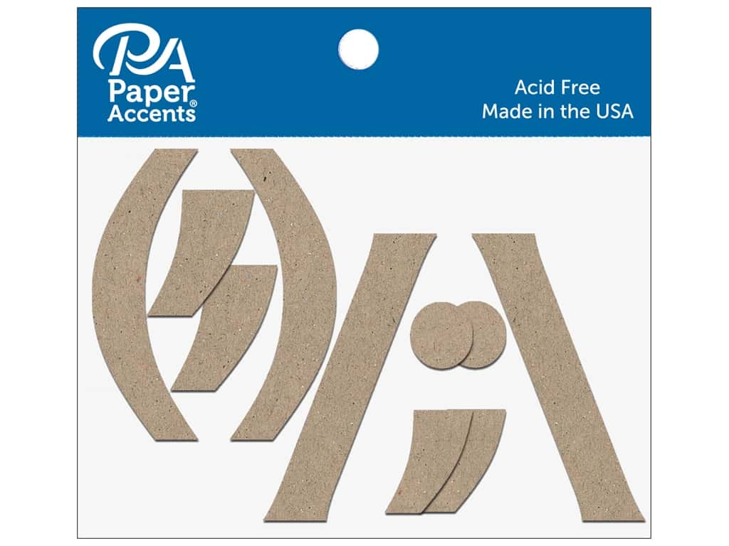 """Paper Accents Chipboard Punctuation (,)/""""\  4 in. 2 pc. Natural"""