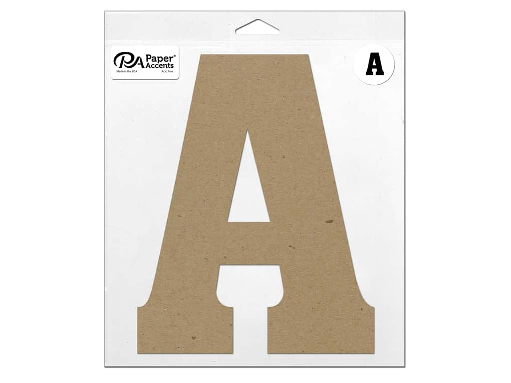 "Paper Accents Chipboard Shape Letter ""A"" 11 in. 1 pc. Natural"