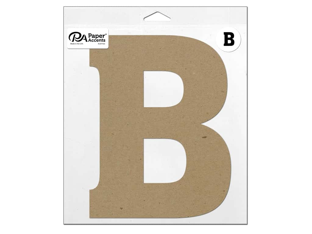 "Paper Accents Chipboard Shape Letter ""B"" 11 in. 1 pc. Natural"
