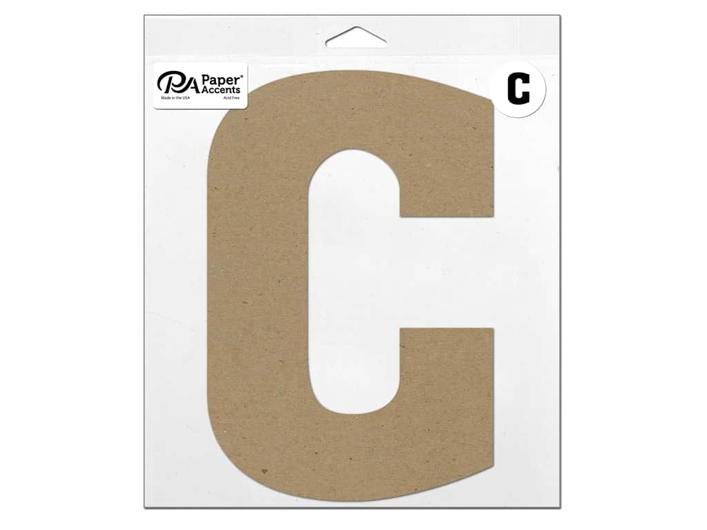 """Paper Accents Chipboard Shape Letter """"C"""" 11 in. 1 pc. Natural"""