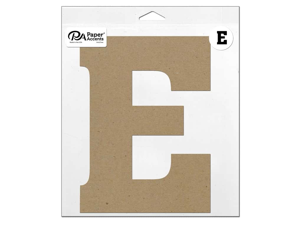 "Paper Accents Chipboard Shape Letter ""E"" 11 in. 1 pc. Natural"