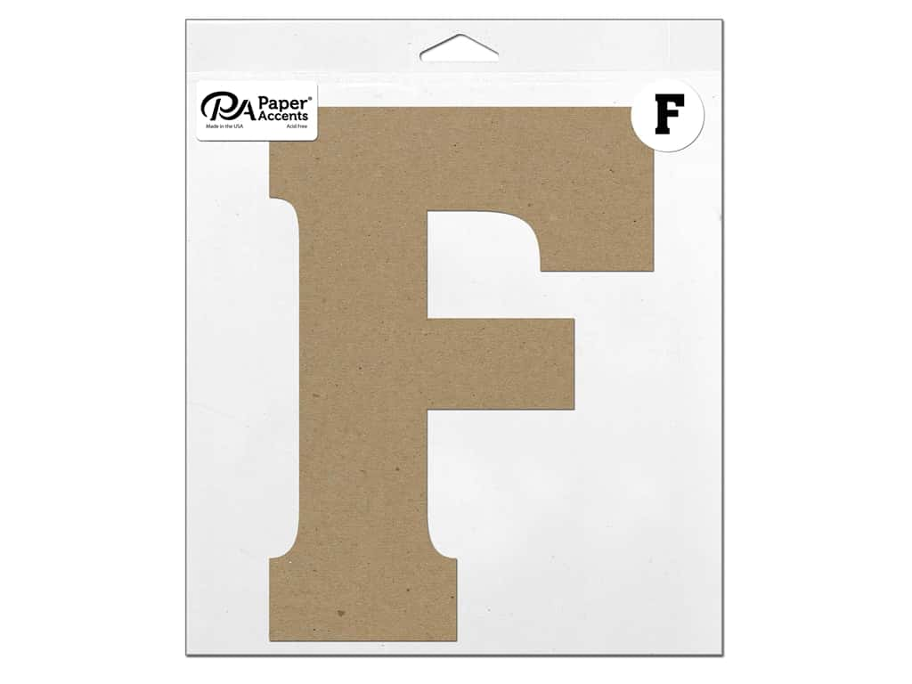 "Paper Accents Chipboard Shape Letter ""F"" 11 in. 1 pc. Natural"