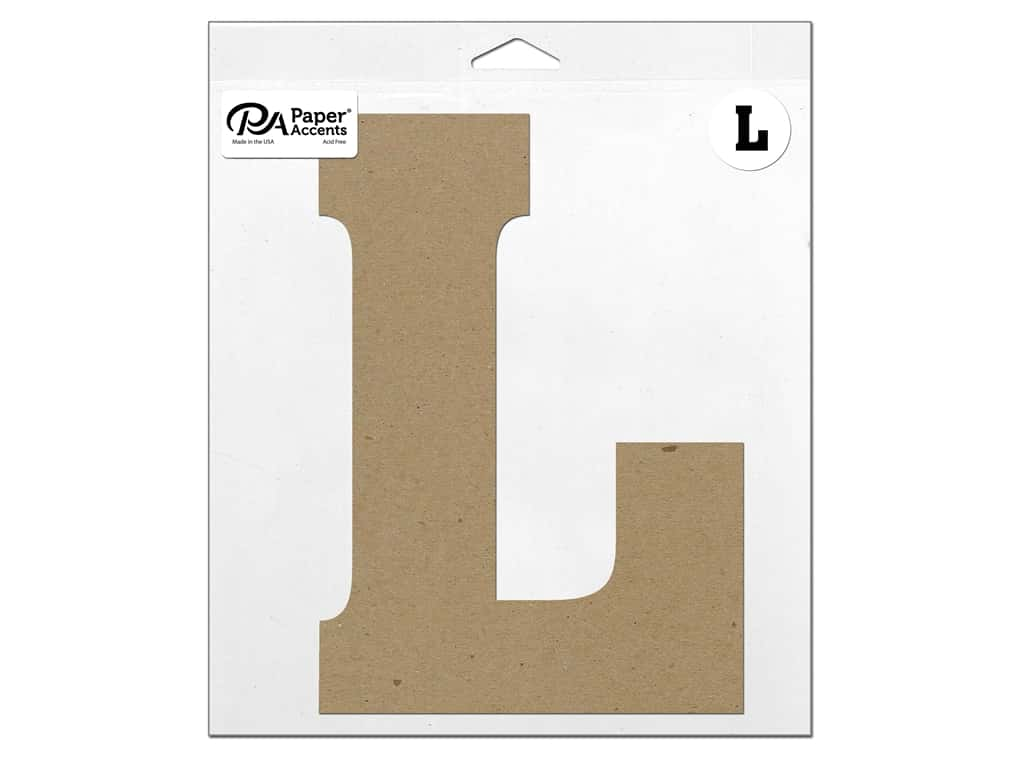 "Paper Accents Chipboard Shape Letter ""L"" 11 in. 1 pc. Natural"