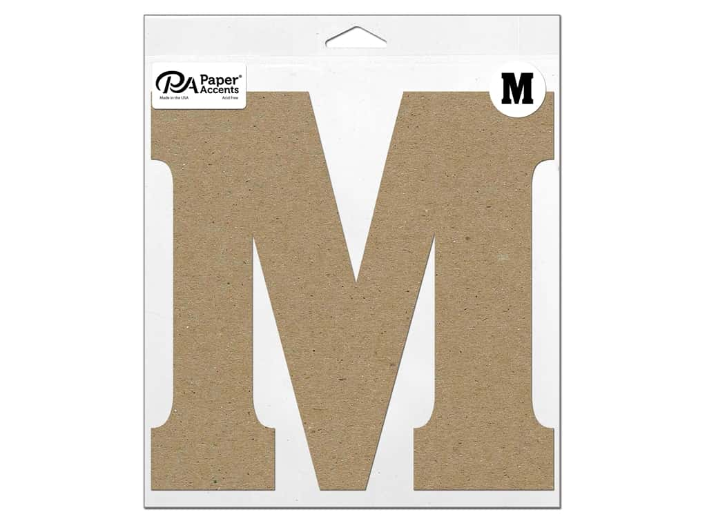 """Paper Accents Chipboard Shape Letter """"M"""" 11 in. 1 pc. Natural"""