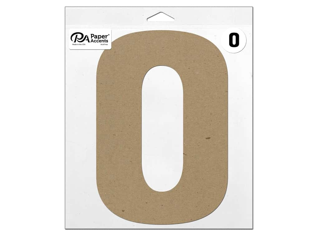 "Paper Accents Chipboard Shape Letter ""O"" 11 in. 1 pc. Natural"