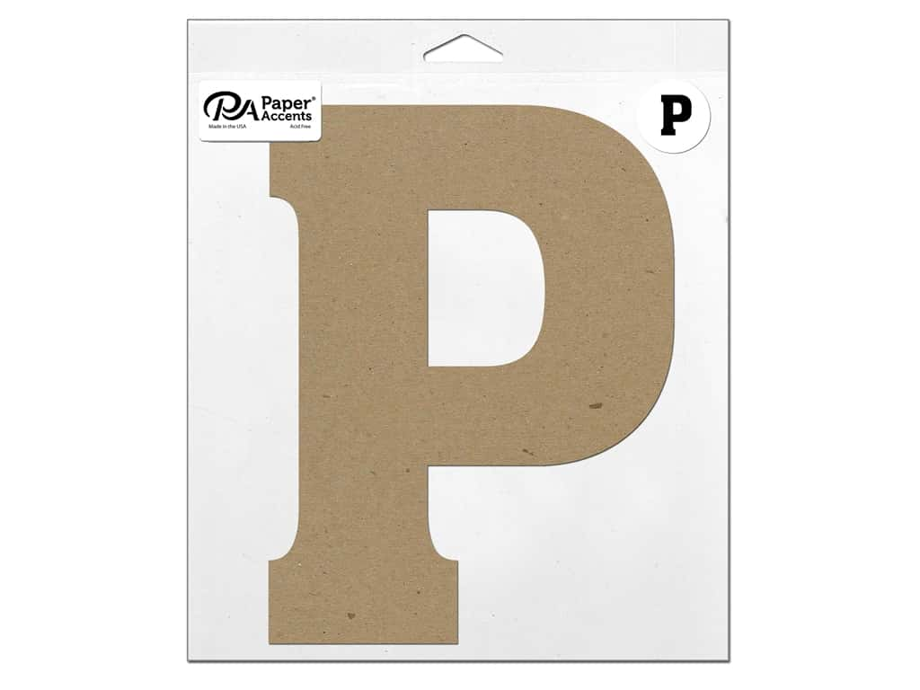 "Paper Accents Chipboard Shape Letter ""P"" 11 in. 1 pc. Natural"