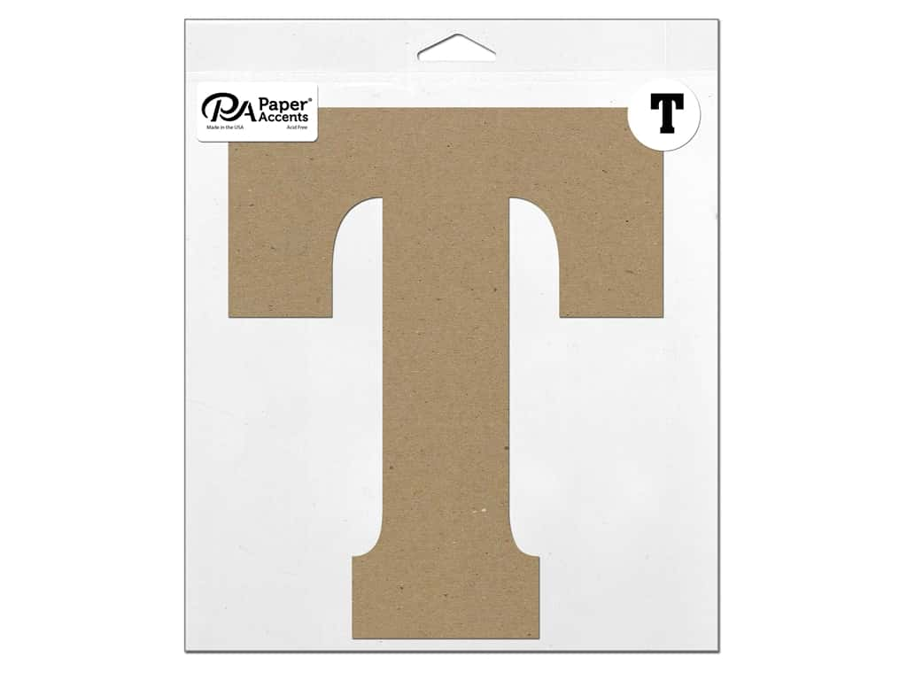 """Paper Accents Chipboard Shape Letter """"T"""" 11 in. 1 pc. Natural"""