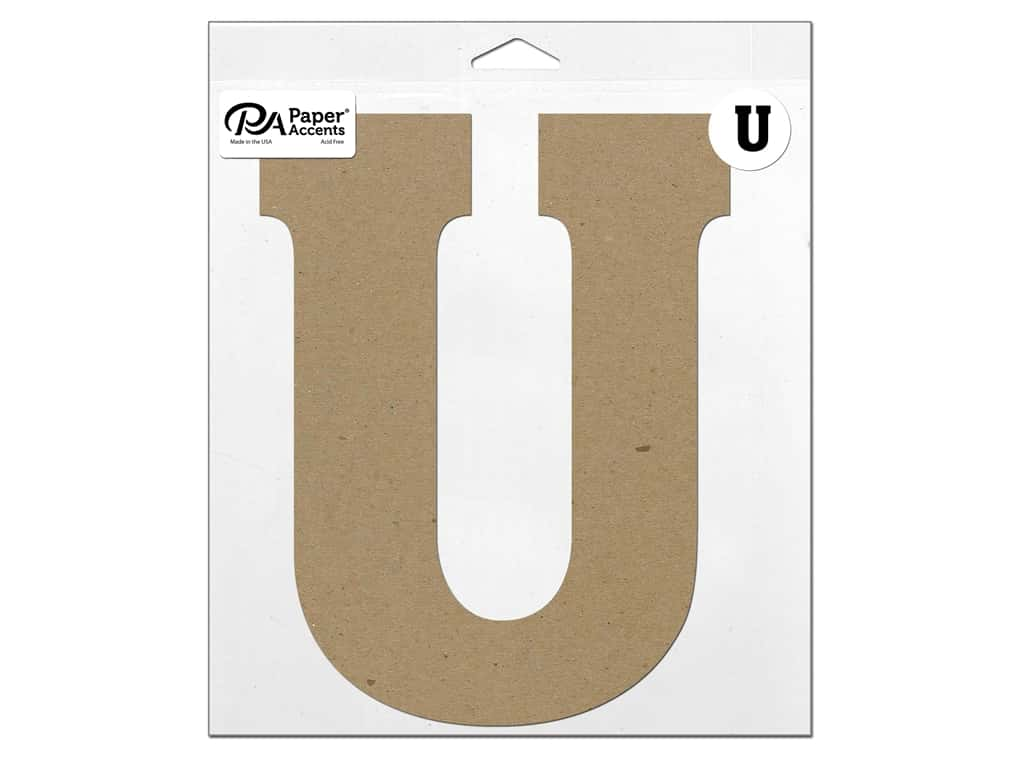 "Paper Accents Chipboard Shape Letter ""U"" 11 in. 1 pc. Natural"