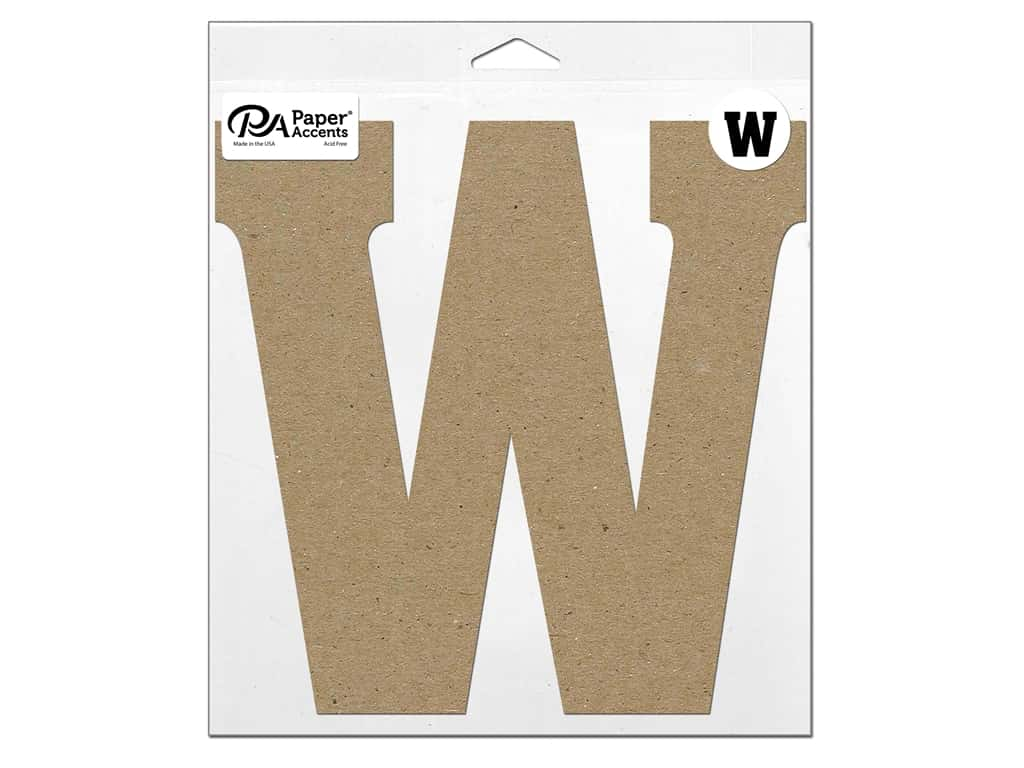 """Paper Accents Chipboard Shape Letter """"W"""" 11 in. 1 pc. Natural"""