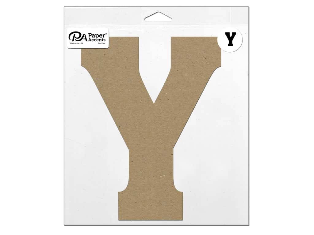 """Paper Accents Chipboard Shape Letter """"Y"""" 11 in. 1 pc. Natural"""