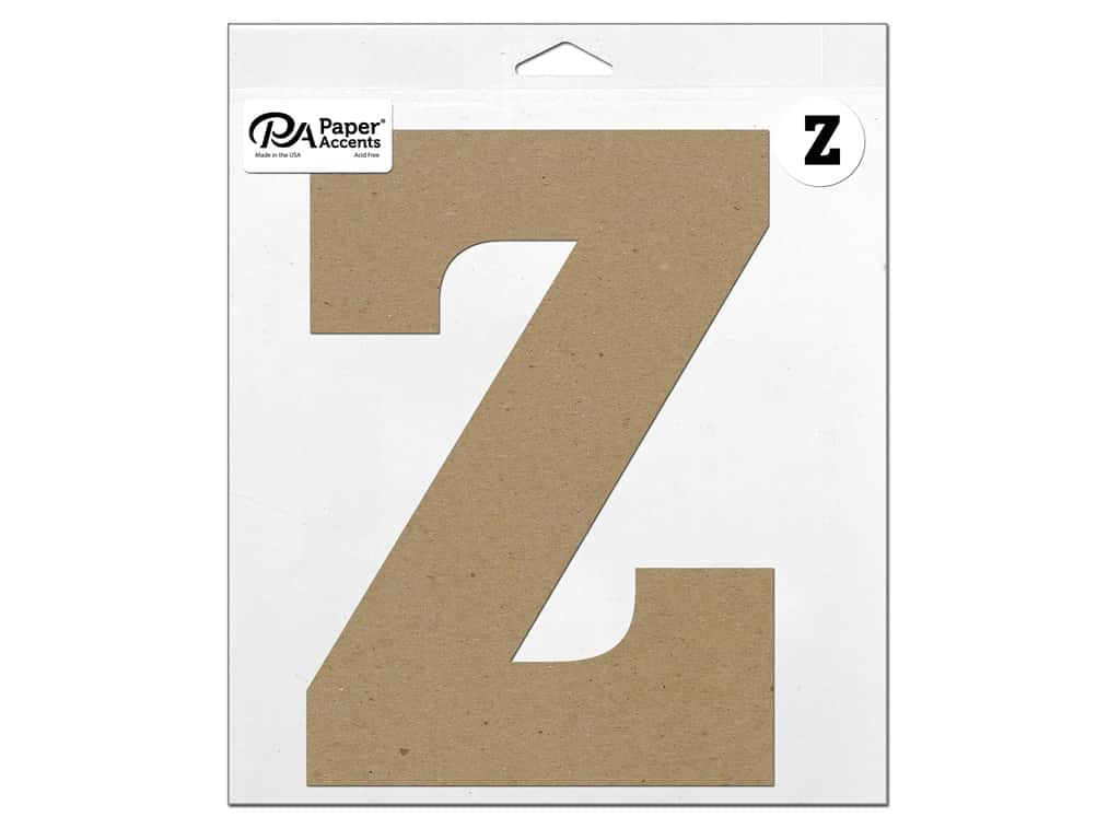 """Paper Accents Chipboard Shape Letter """"Z"""" 11 in. 1 pc. Natural"""