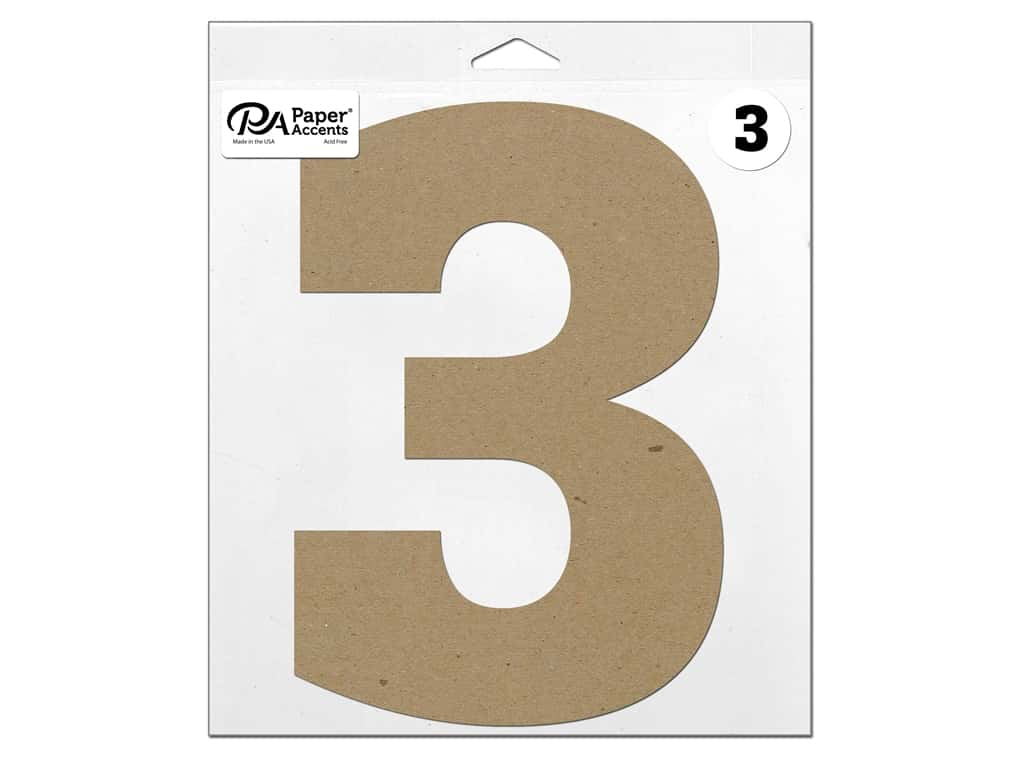 """Paper Accents Chipboard Shape Number """"3"""" 11 in. 1 pc. Natural"""