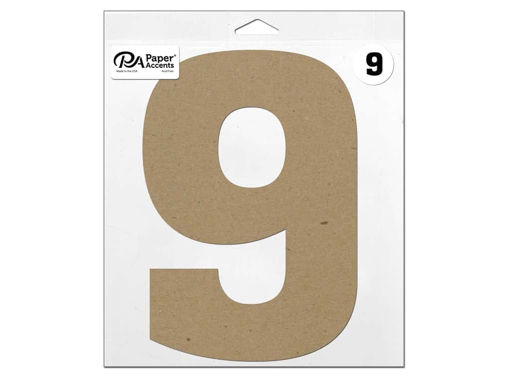 "Paper Accents Chipboard Shape Number ""9"" 11 in. 1 pc. Natural"