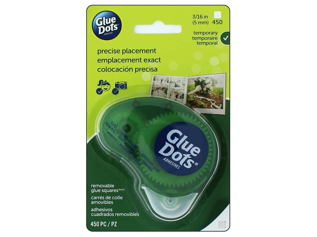 "Glue Dots Removable 3/16"" Square Dispenser 450pc"