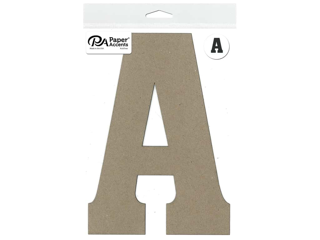 """Paper Accents Chipboard Shape Letter """"A"""" 8 in. 1 pc. Natural"""