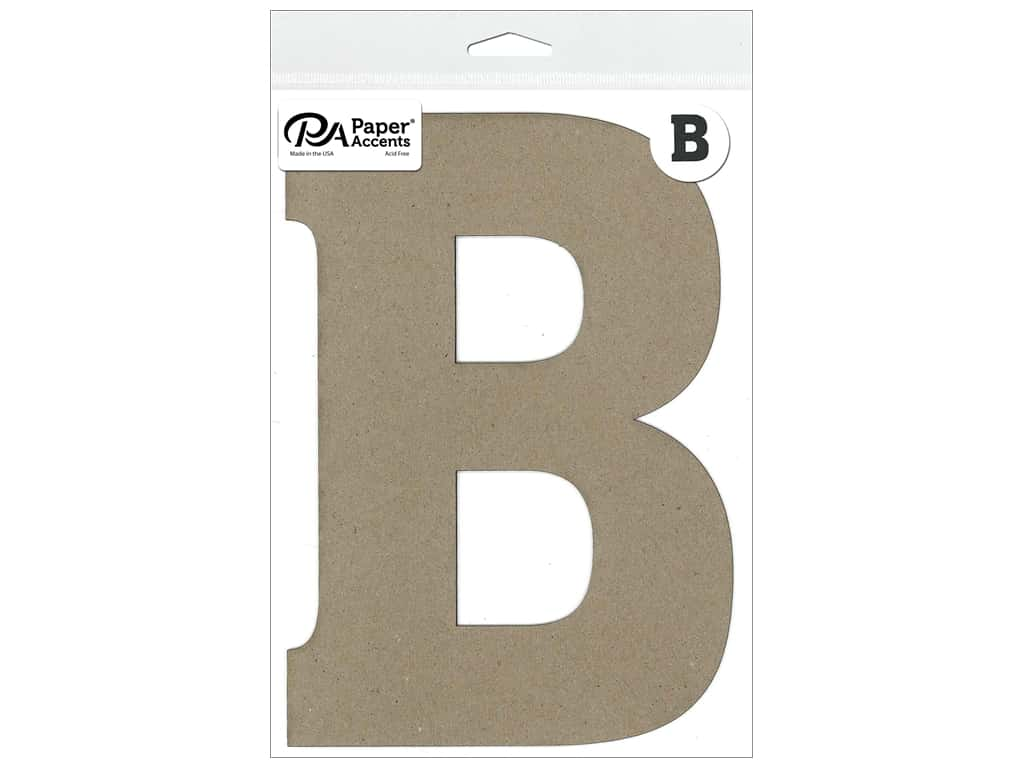 "Paper Accents Chipboard Shape Letter ""B"" 8 in. 1 pc. Natural"