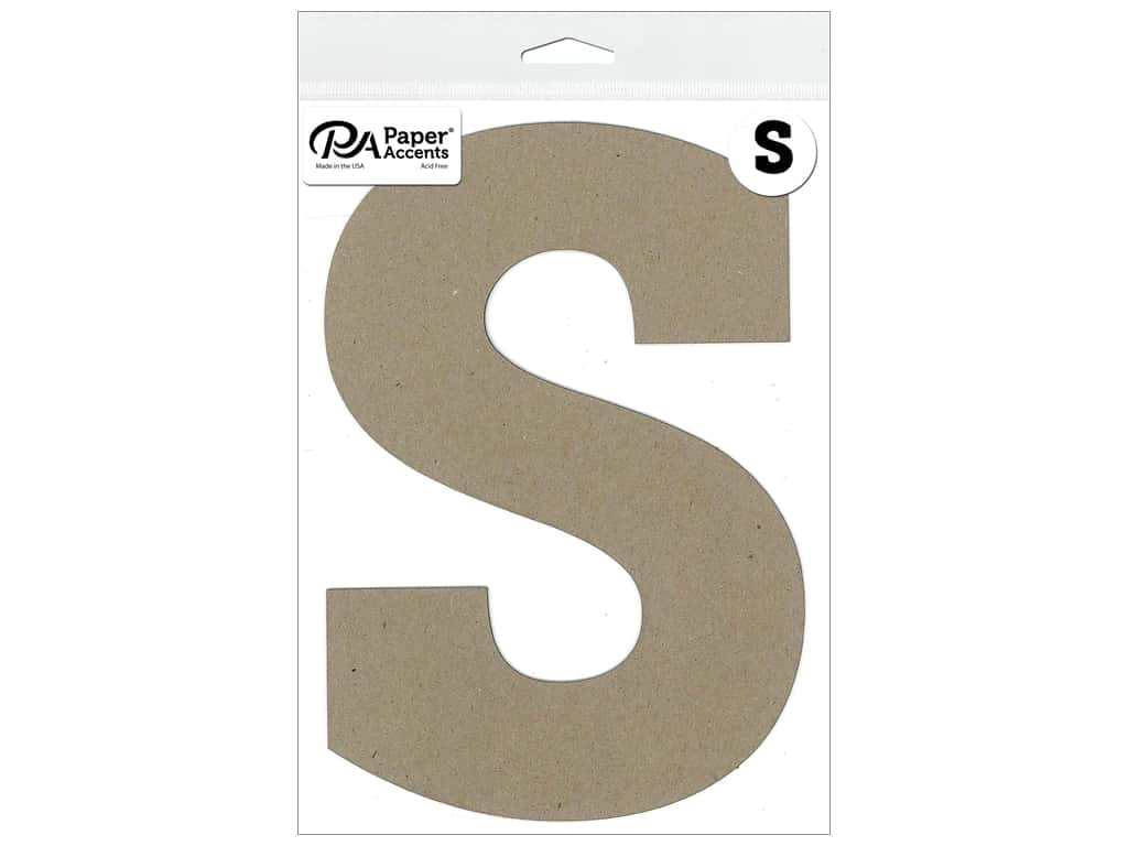 "Paper Accents Chipboard Shape Letter ""S"" 8 in. 1 pc. Natural"