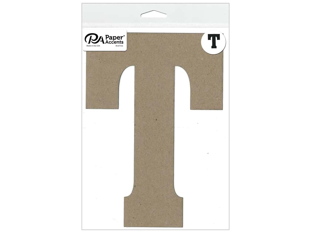 "Paper Accents Chipboard Shape Letter ""T"" 8 in. 1 pc. Natural"