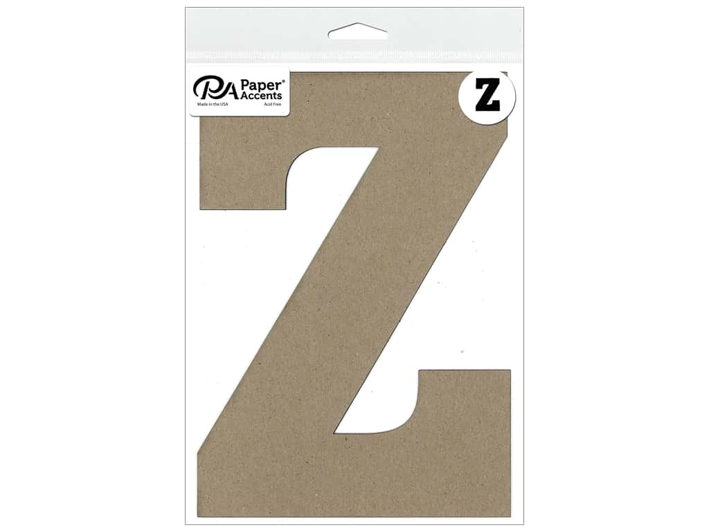 """Paper Accents Chipboard Shape Letter """"Z"""" 8 in. 1 pc. Natural"""