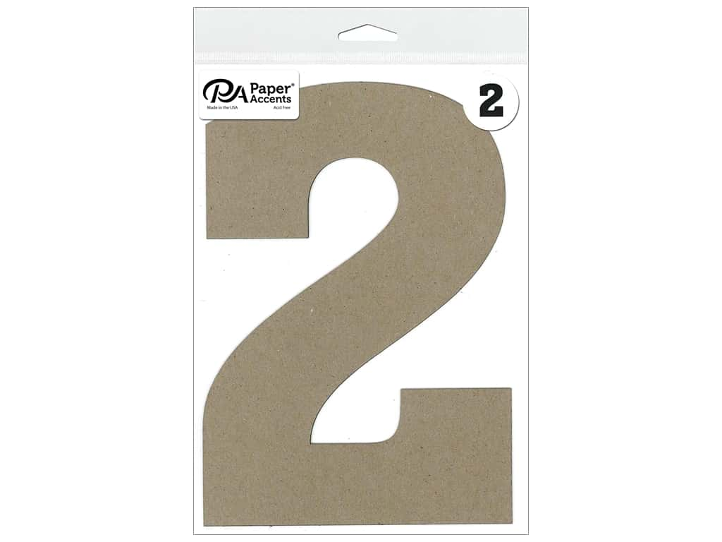 """Paper Accents Chipboard Shape Number """"2"""" 8 in. 1 pc. Natural"""