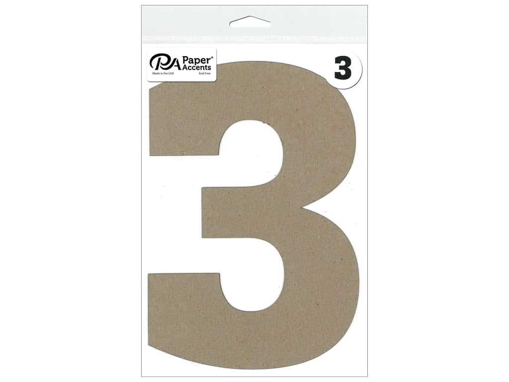 "Paper Accents Chipboard Shape Number ""3"" 8 in. 1 pc. Natural"