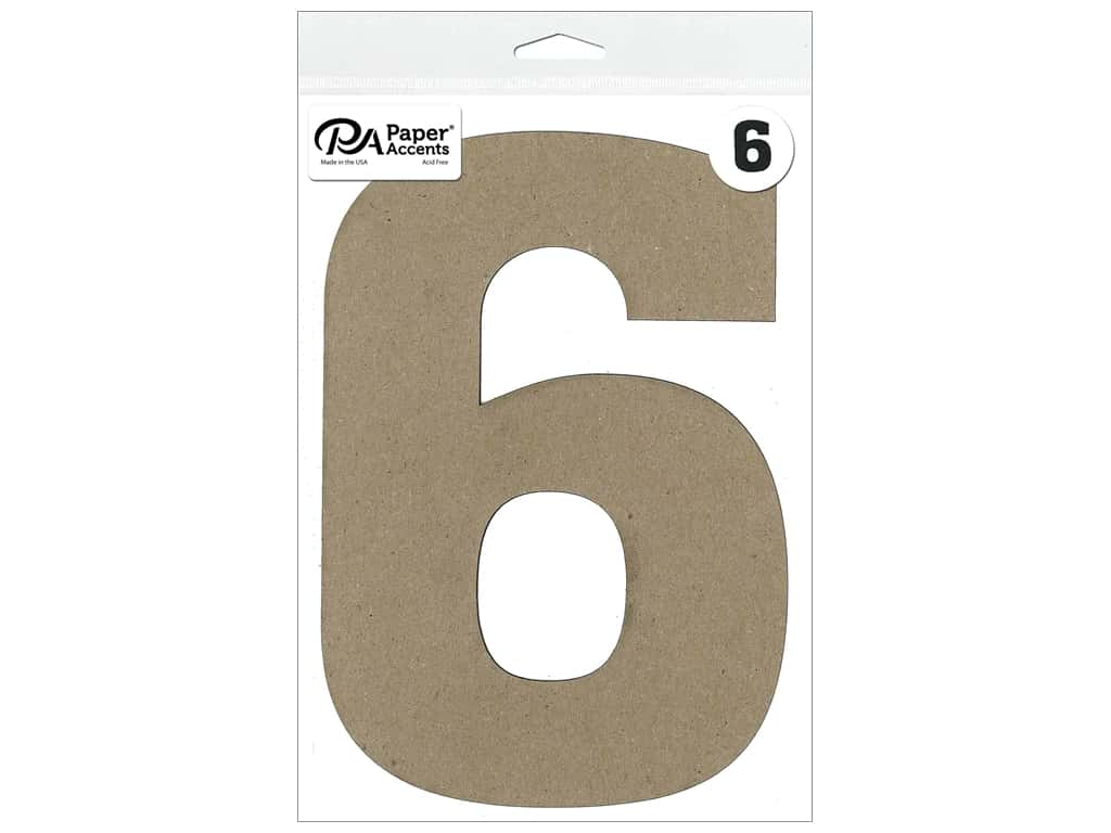 "Paper Accents Chipboard Shape Number ""6"" 8 in. 1 pc. Natural"