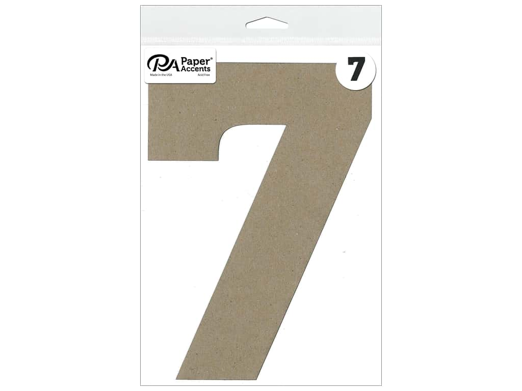 """Paper Accents Chipboard Shape Number """"7"""" 8 in. 1 pc. Natural"""
