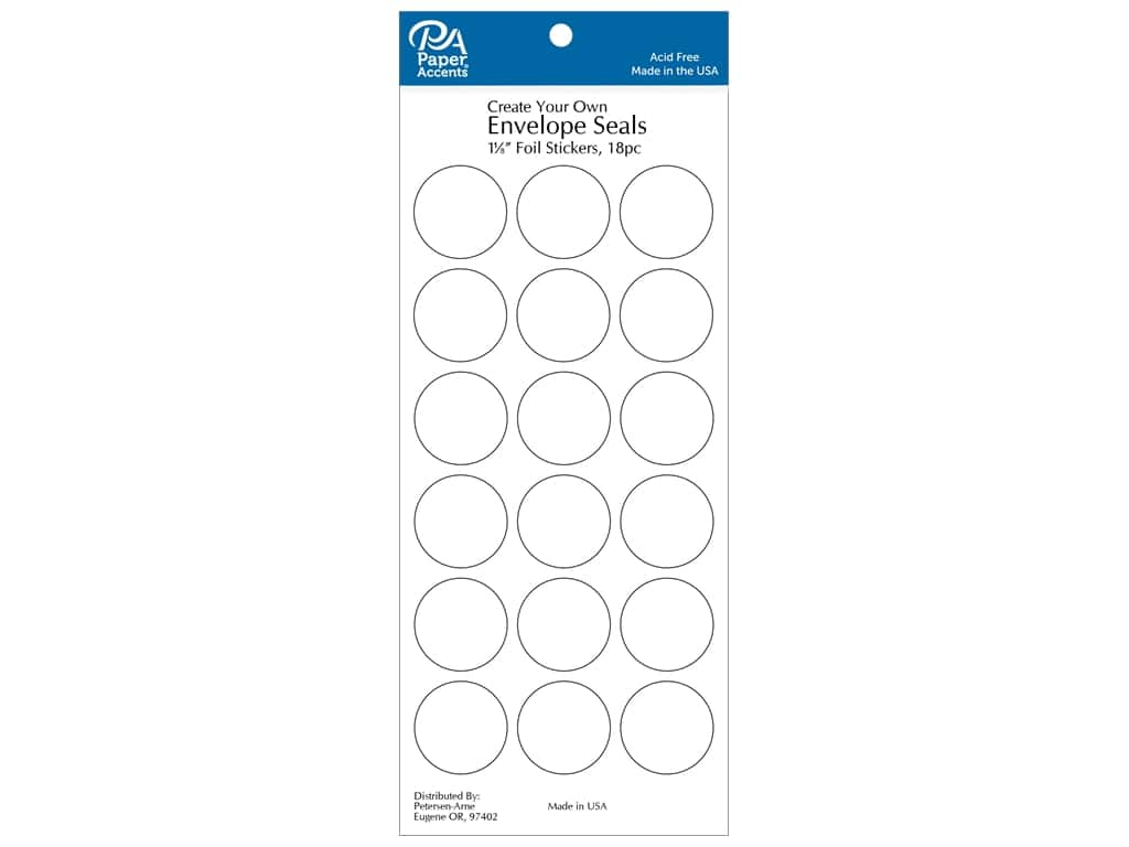 Paper Accents Envelope Seals 1 1/8 in. White 18 pc.