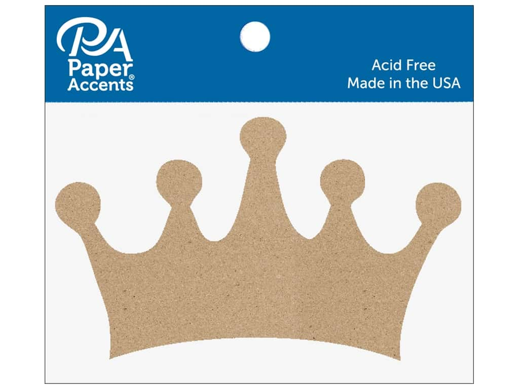 Paper Accents Chipboard Shape 6 pc. Classic Crown Natural