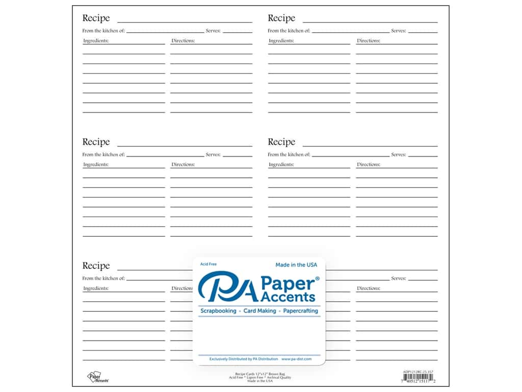 Paper Accents Recipe Card Sheet 12 x 12 in. White