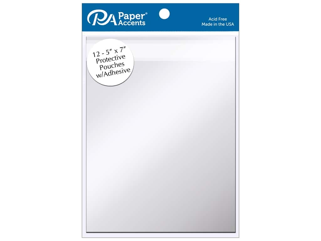 Paper Accents Protective Pouch with Adhesive 5 x 7 in. Clear 12 pc.
