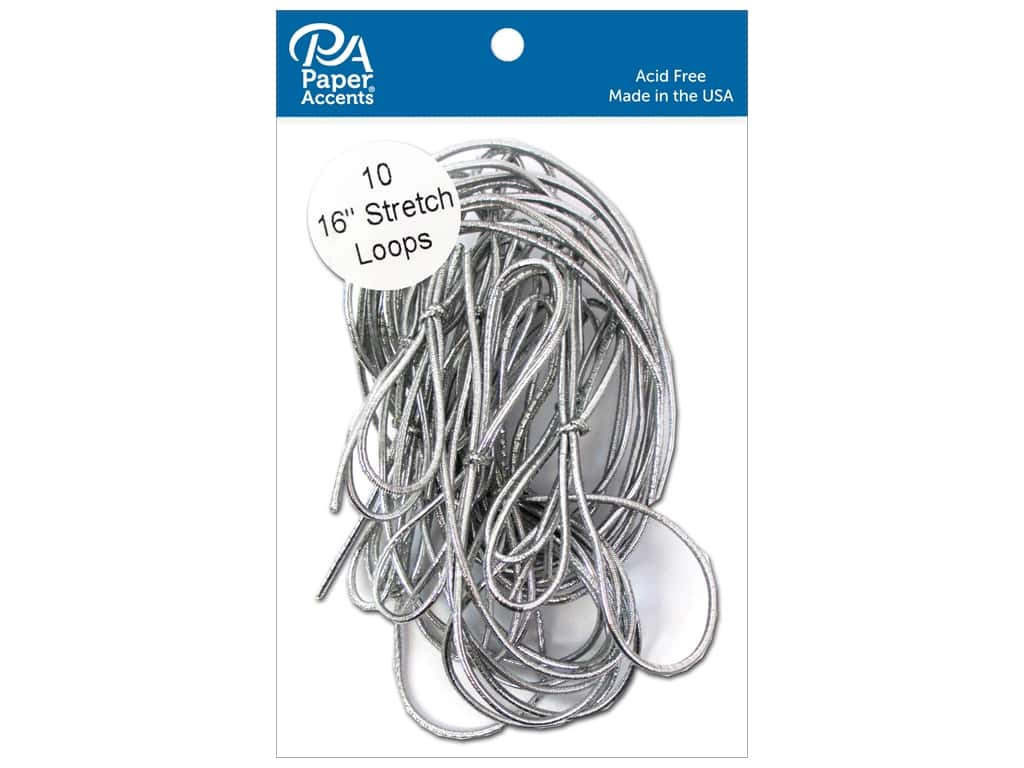 Paper Accents Stretch Loops 16 in. Metallic Silver 10 pc.