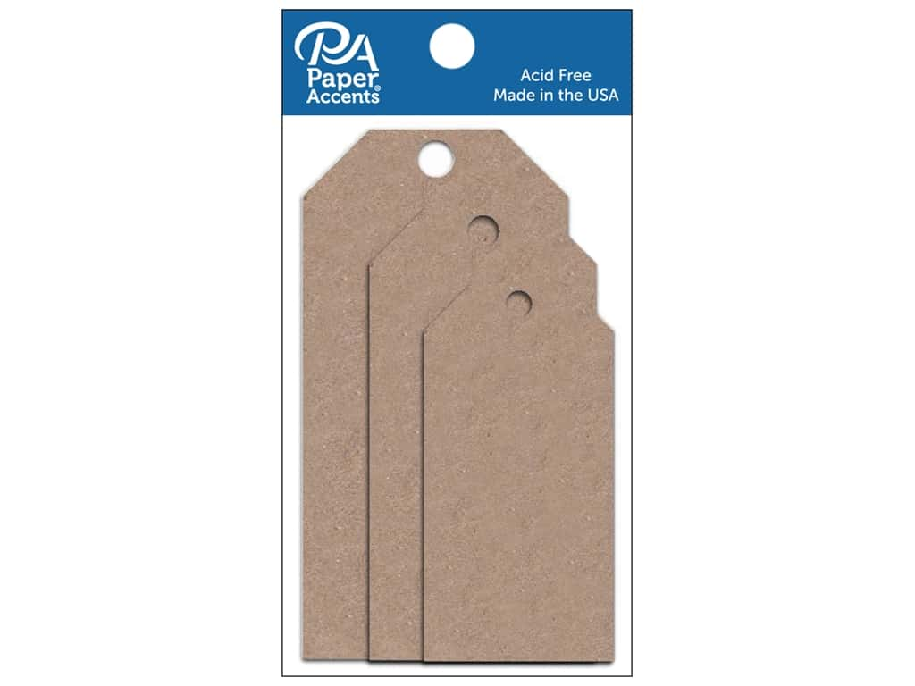 Paper Accents Craft Tags Assorted 25 pc. Brown Bag