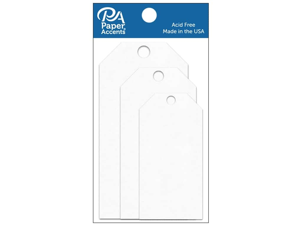Paper Accents Craft Tags Assorted  25 pc. White