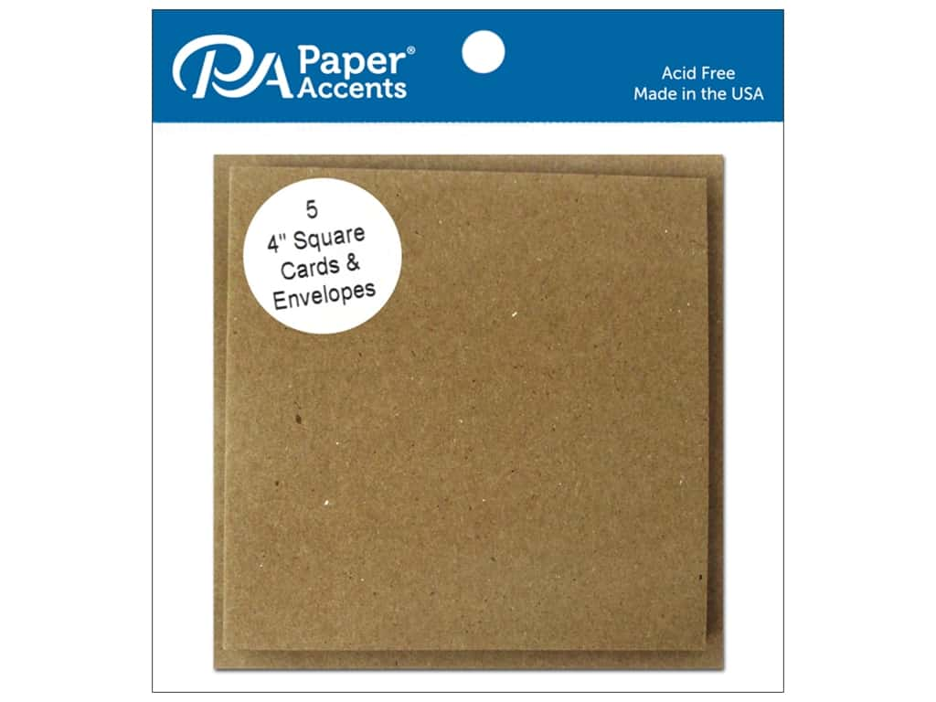 Paper Accents Blank Card & Envelopes - 4 x 4 in. - Brown Bag 5 pc.