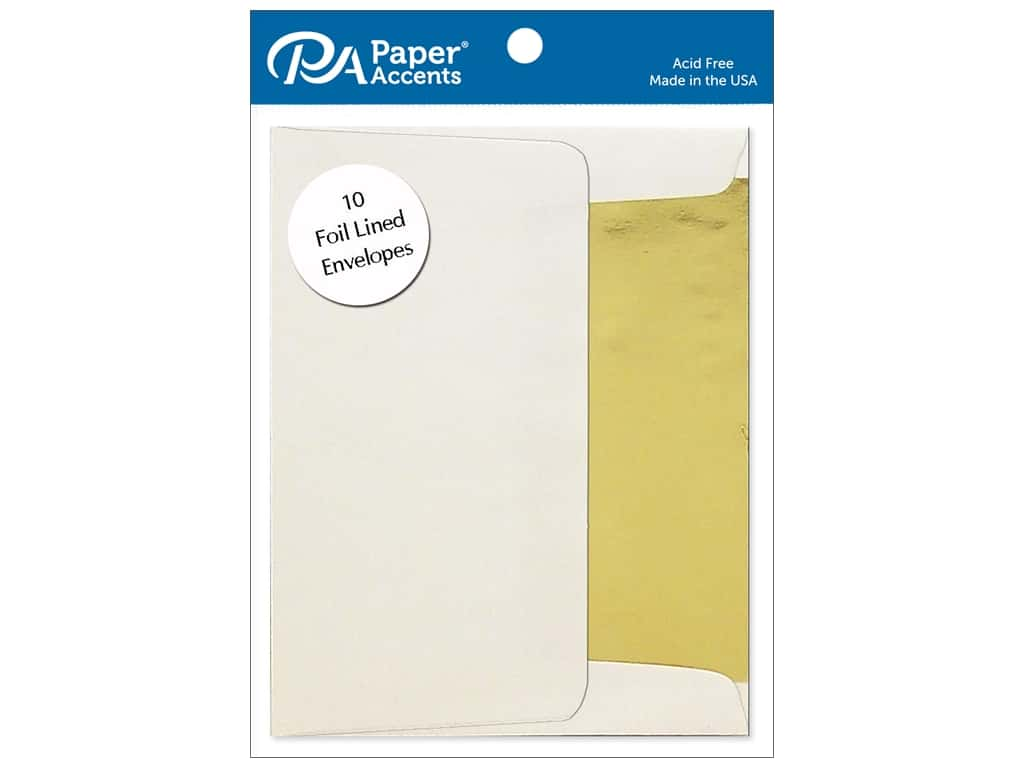 Paper Accents 4 1/4 x 5 1/2 in. Envelopes 10 pc. Gold Lined Cream