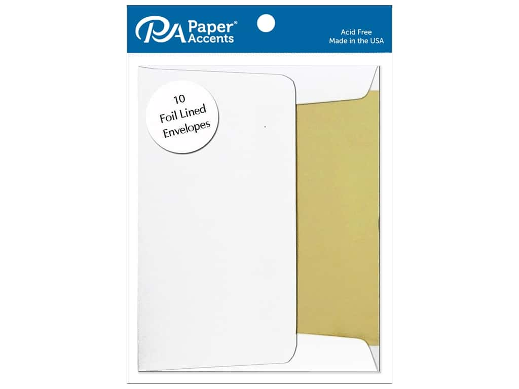 Paper Accents 4 1/4 x 5 1/2 in. Envelopes 10 pc. Gold Lined White