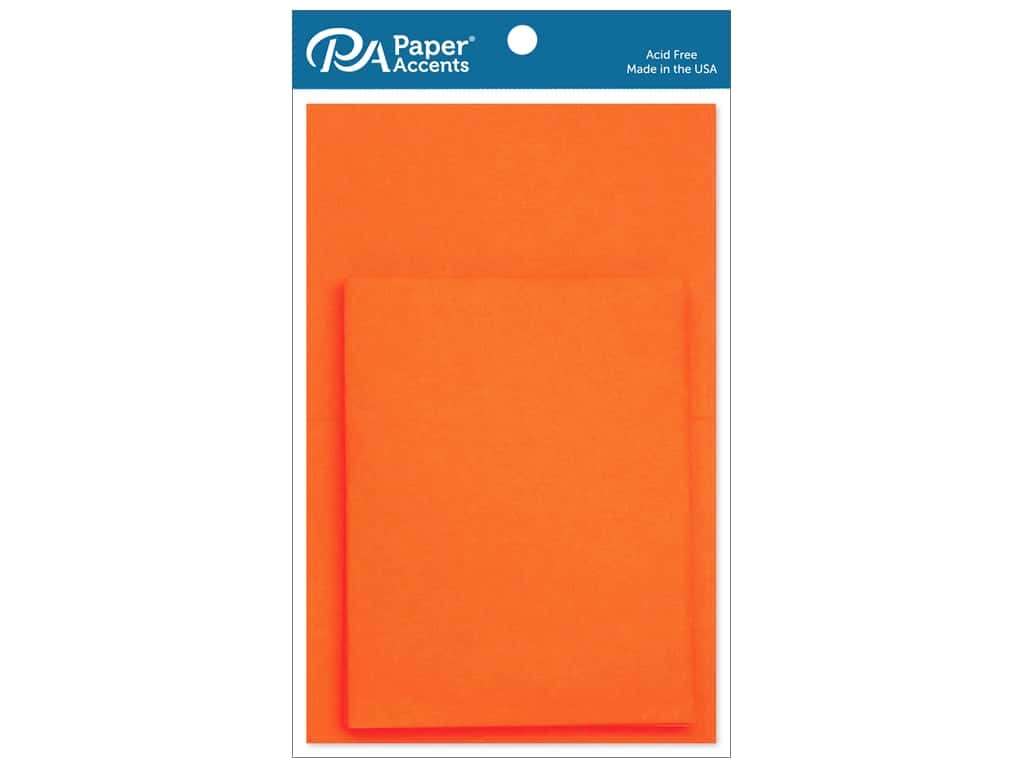 Paper Accents 4 1/4 x 5 1/2 in. Blank Card & Envelopes 10 pc. Orange