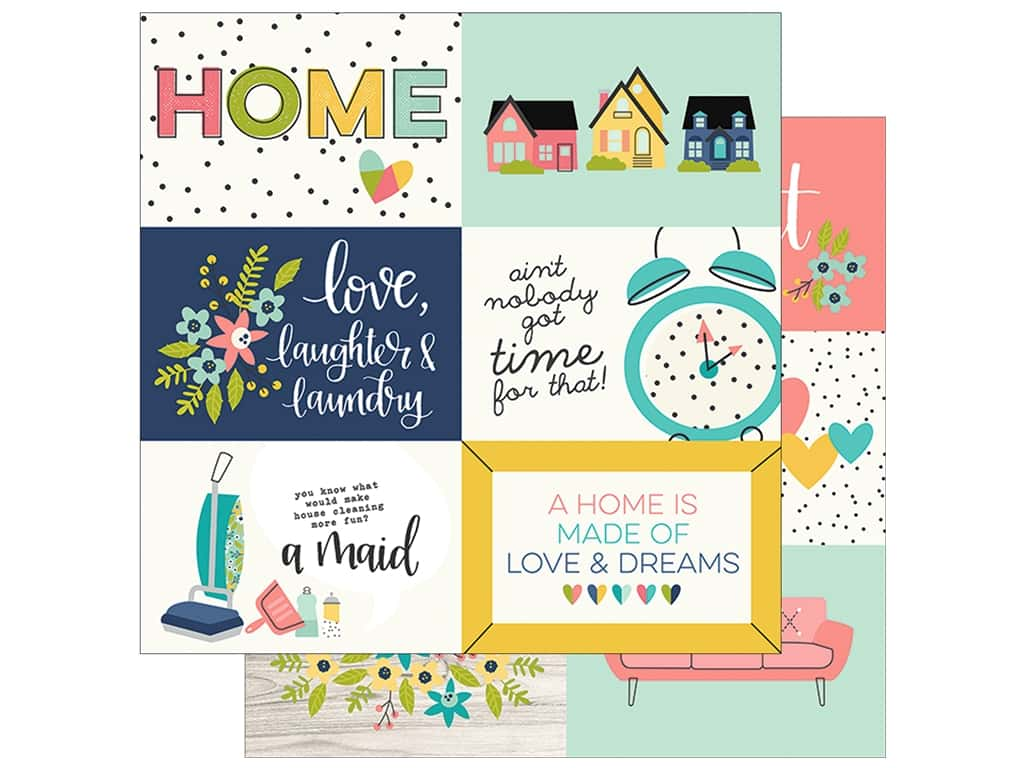 "Simple Stories Collection Domestic Bliss Paper 12""x 12"" Elements Horizontal 4""x 6"" (25 pieces)"