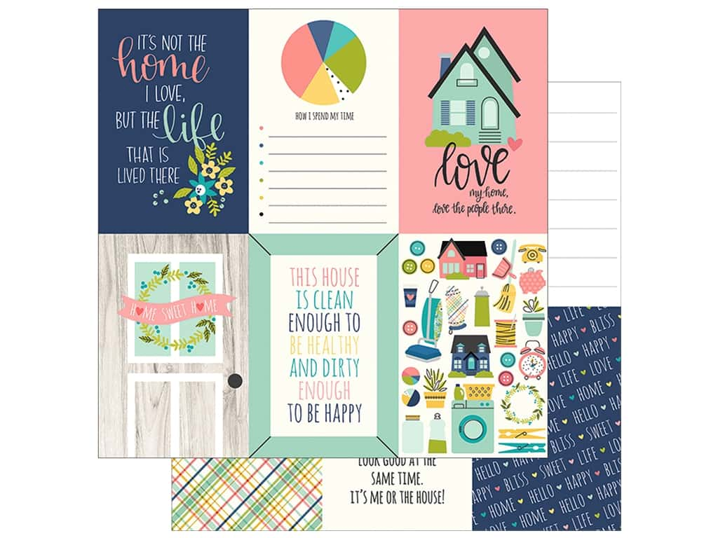"Simple Stories Collection Domestic Bliss Paper 12""x 12"" Elements Vertical 4""x 6"" (25 pieces)"
